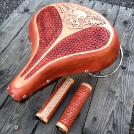 Peto Kustom Leathers tooled bicycle seat and grips
