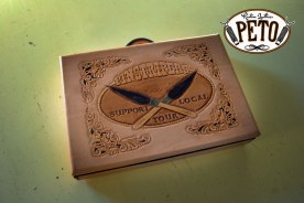 Peto Kustom Leathers tooled pinstriping brush case