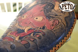 Peto Kustom Leathers tooled Hannya chopper seat