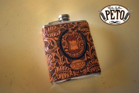 Peto Kustom Leathers tooled flask