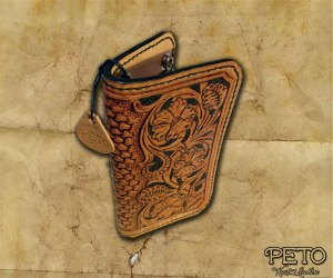 Peto Kustom Leathers tooled biker wallet