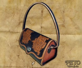 Peto Kustom Leathers tooled western handbag