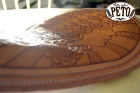 Peto Kustom Leathers tooled indian girl chopper seat