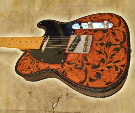 Peto Kustom Leathers tooled telecaster leather cover