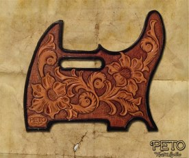 Peto Kustom Leathers tooled tele pickguard