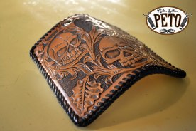 Peto Kustom Leathers tooled skull wallet