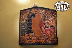 Peto Kustom Leathers tooled skull biker wallet