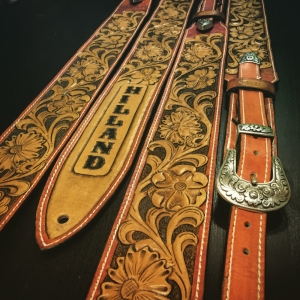 Peto Kustom Leathers tooled western guitar strap