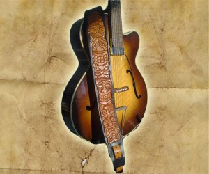 Peto Kustom Leathers tooled Tiki guitar strap
