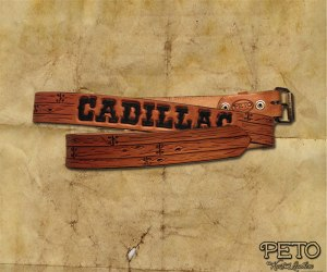 Peto Kustom Leathers tooled Cadillac belt