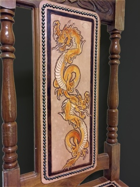 Peto Kustom Leathers tooled Japanese Chair
